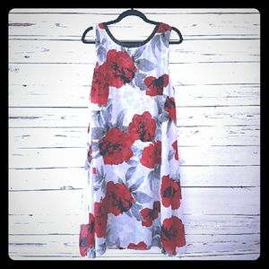 SLNY White, black, and red floral swing dress